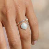Light Blue Scallop Shell Ring Wrap