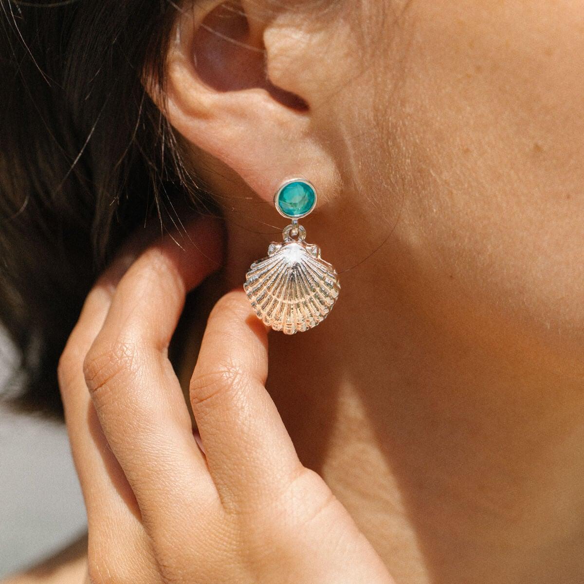 Scallop Shell sterling silver earrings .925 x 1 pair drops Shells SSLP612--HOOKS