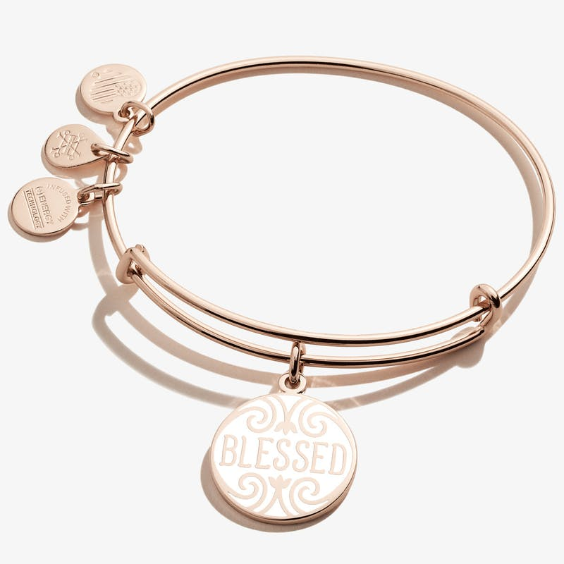 Blessed Charm Bangle, Shiny Rose Gold, Alex and Ani