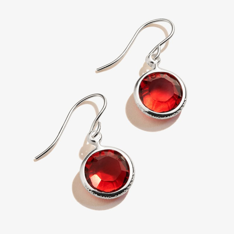 January Scarlet Birthstone Earrings, Shiny Silver, Alex and Ani