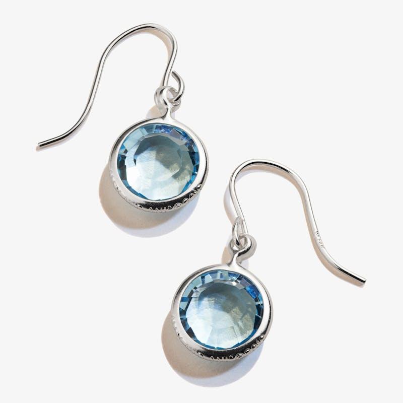 March Aquamarine Birthstone Earrings, Shiny Silver, Alex and Ani