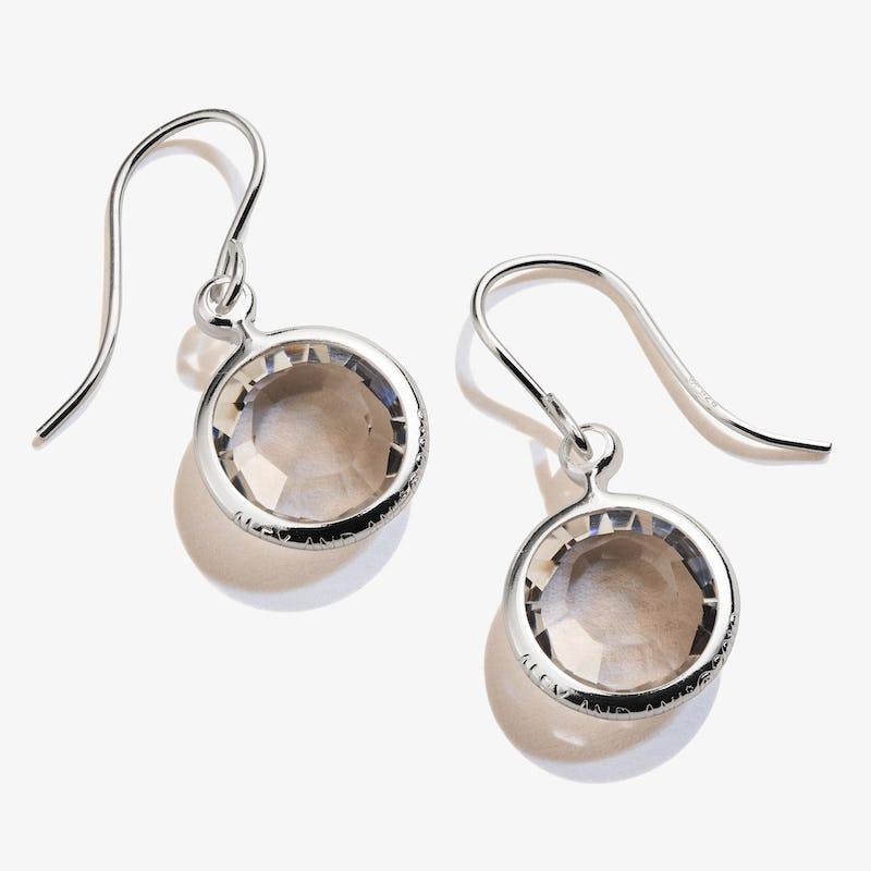 Clear Crystal Birthstone Earrings, April
