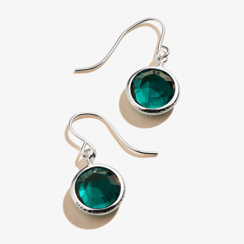May Emerald Birthstone Earrings, Shiny Silver, Alex and Ani
