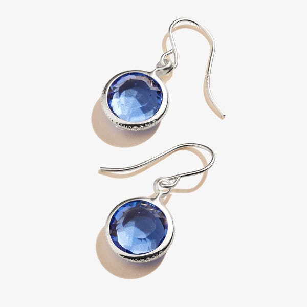 September Sapphire Birthstone Earrings, Shiny Silver, Alex and Ani