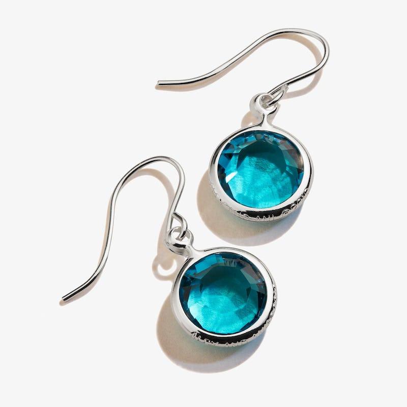 December Blue Zircon Birthstone Earrings, Shiny Silver, Alex and Ani