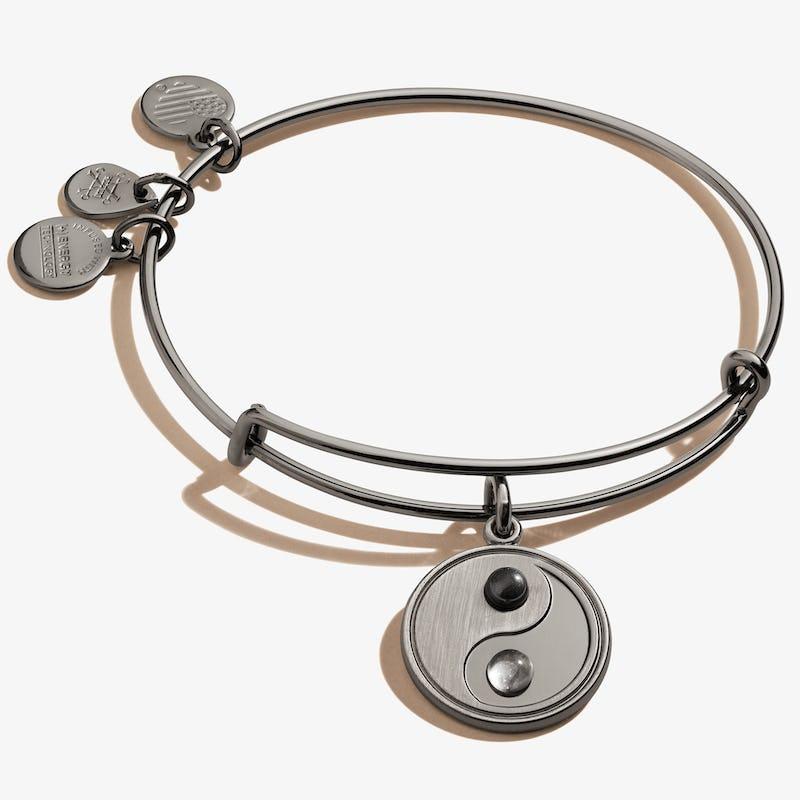 Yin Yang Charm Bangle Bracelet, Midnight Silver, Alex and Ani
