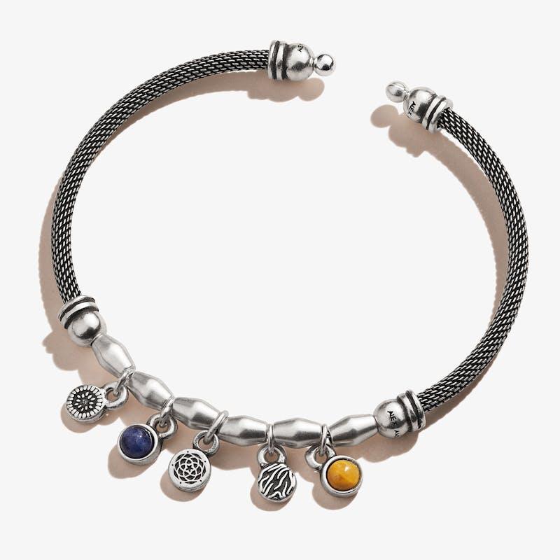 New Beginnings + Gemstone Multi-Charm Mesh Cuff Bracelet