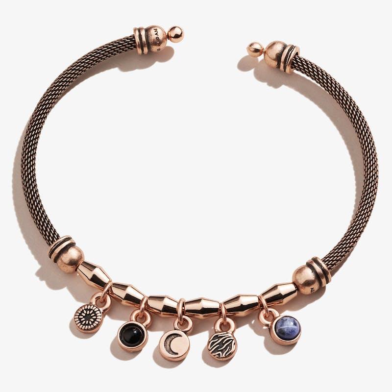 Crescent Moon + Gemstone Multi-Charm Mesh Cuff Bracelet