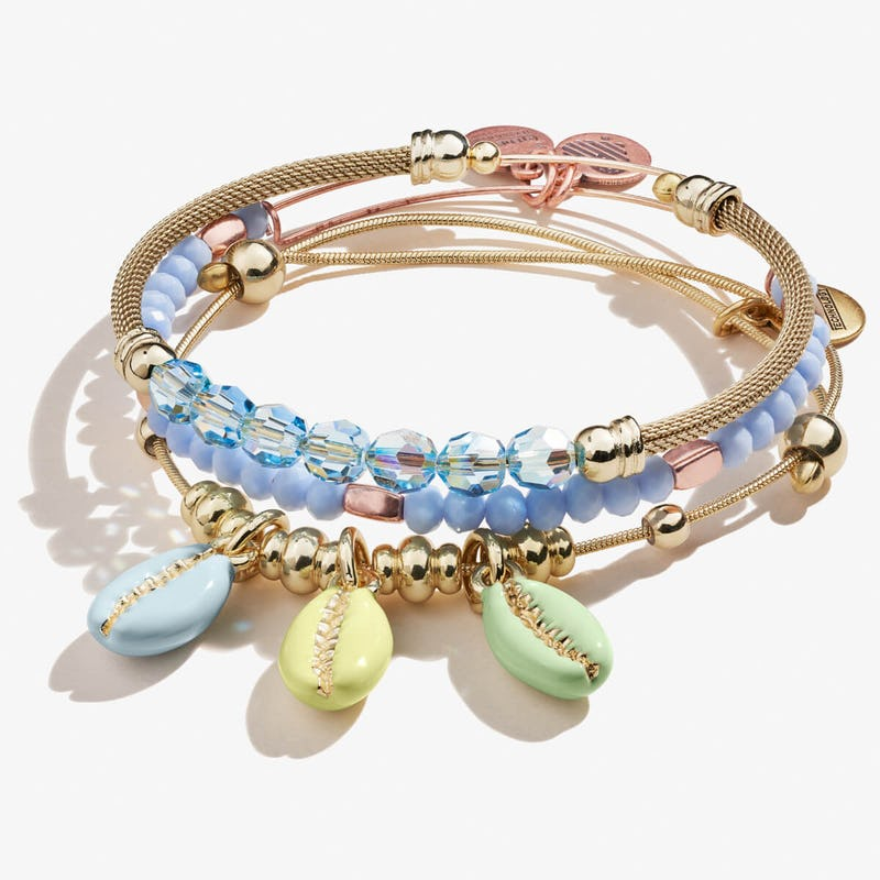 Cowrie Shell Bracelets, Set of 3, Gold