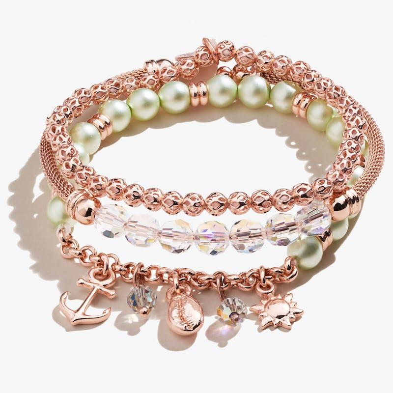 Green Pearl + Sea Charm Bracelets, Set of 3