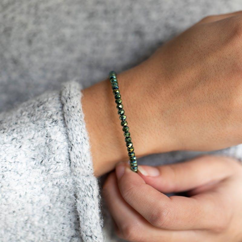 Brilliance Beaded Bangle, Emerald