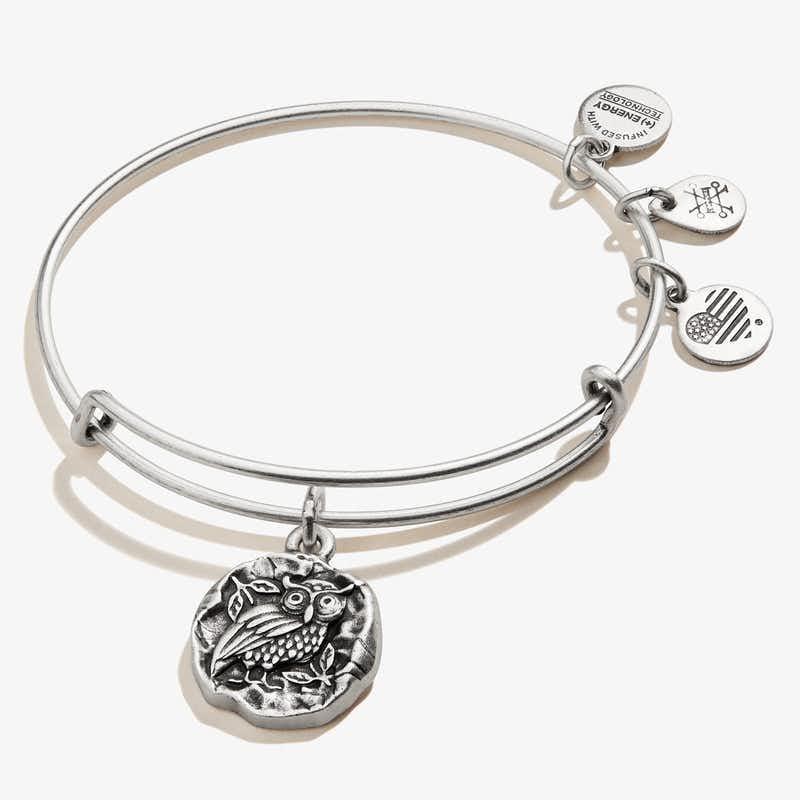 Owl of Athena Molten Coin Charm Bangle