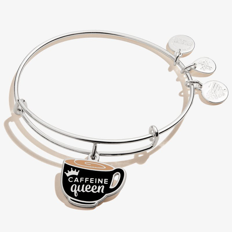 Caffeine Queen' Coffee Mug Charm Bangle, Shiny Silver, Alex and Ani