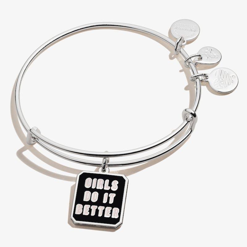 'Girls Do It Better' Charm Bangle, Shiny Silver, Alex and Ani
