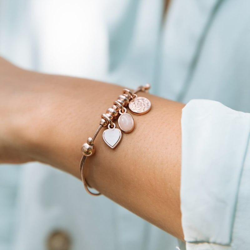 Heart + Rose Quartz Gemstone Multi-Charm Bracelet