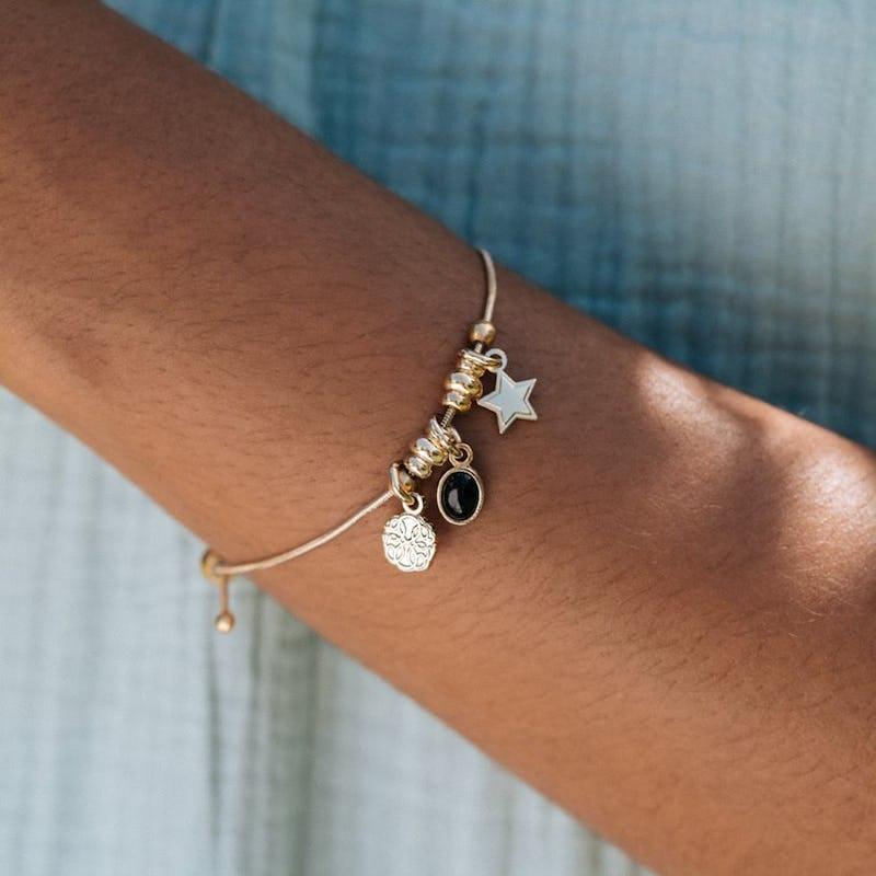 Path of Life® + Onyx Gemstone Multi-Charm Bracelet