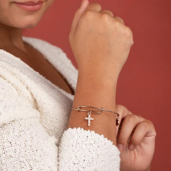 Pavé Cross Charm Bangle