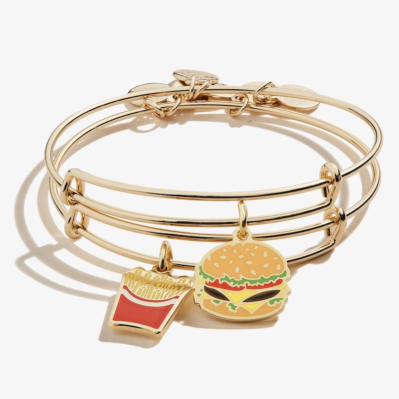 Hamburger + Fry Charm Bangles, Set of 2, Shiny Gold, Alex and Ani