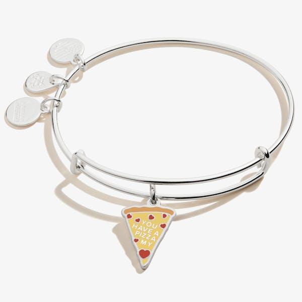 'You Have a Pizza My Heart' Charm Bangle, Shiny Silver, Alex and Ani