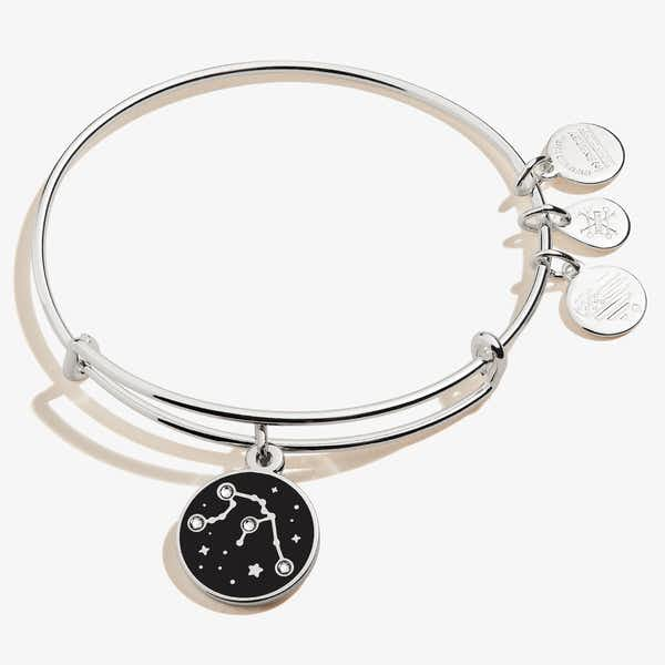 Aquarius Zodiac Charm Bangle, Shiny Silver, Alex and Ani