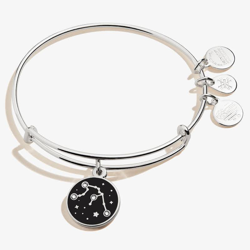 Aquarius Zodiac Charm Bangle, Shiny Silver, Alex and Ani