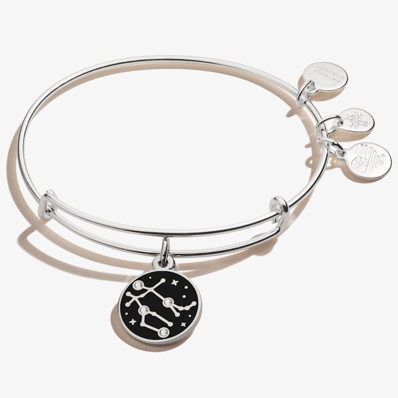 Gemini Zodiac Charm Bangle, Shiny Silver, Alex and Ani