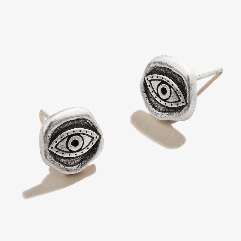 Evil Eye Molten Coin Stud Earrings