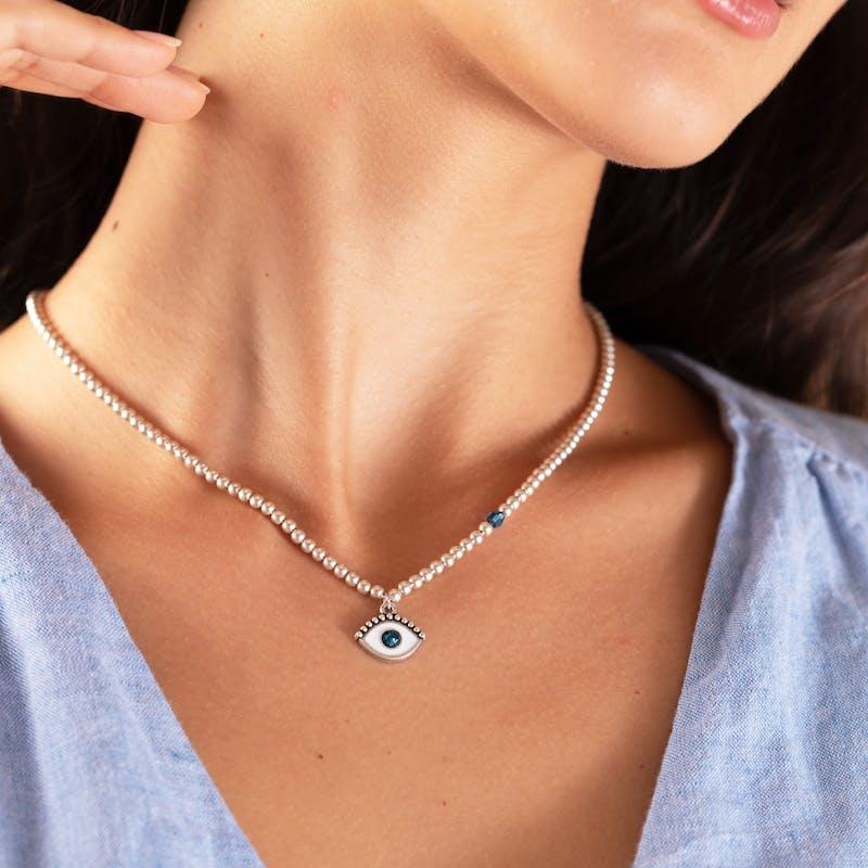 Evil Eye Crystal Charm Beaded Necklace