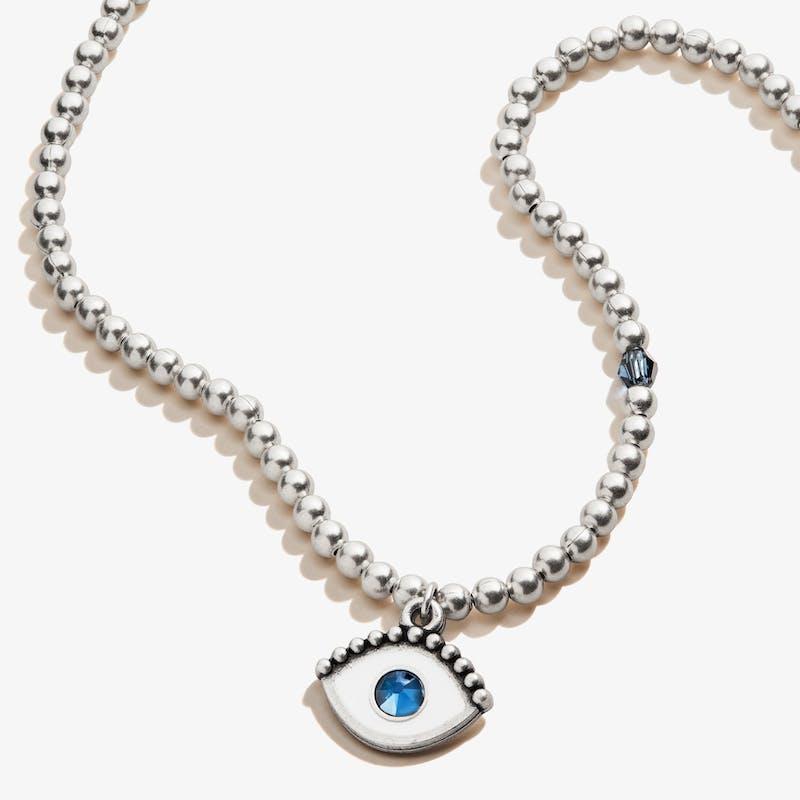 Evil Eye Crystal Charm Beaded Necklace, Rafaelian Silver, Alex and Ani
