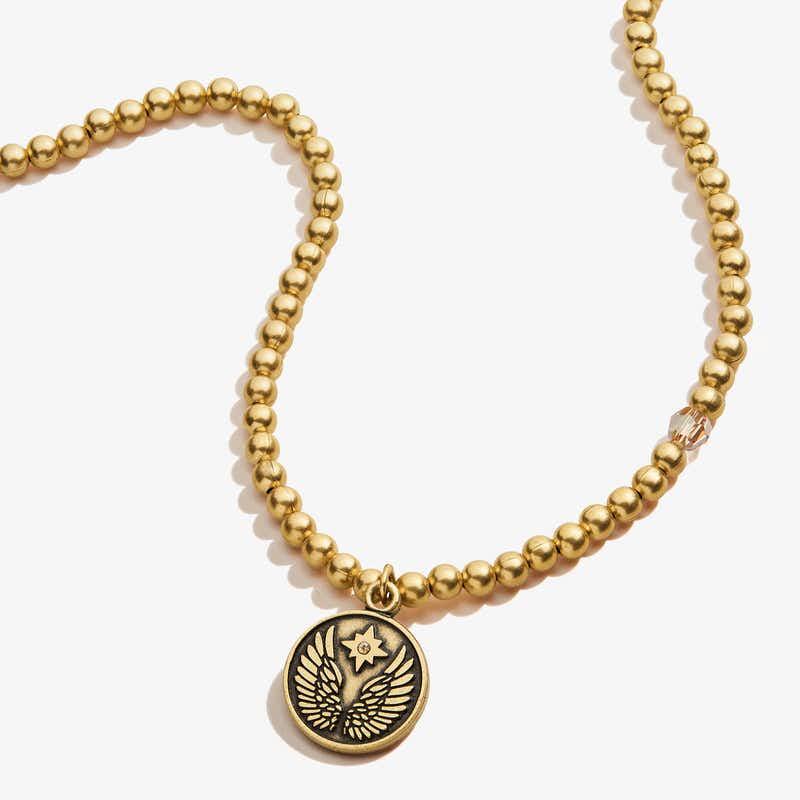 Guardian Angel Crystal Charm Beaded Necklace, Rafaelian Gold, Alex and Ani