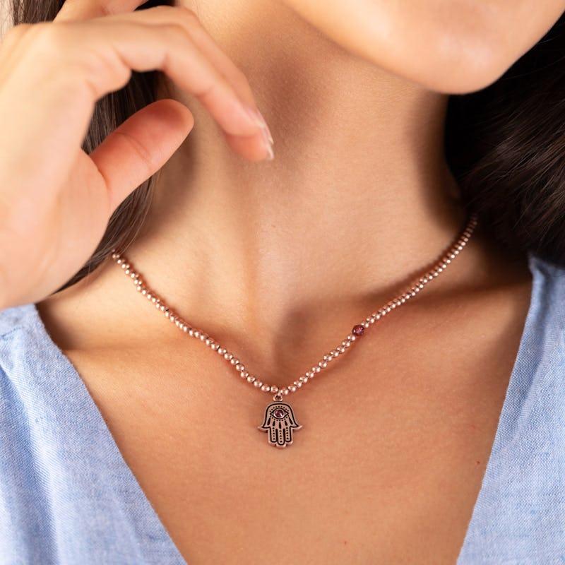 Hamsa Crystal Charm Beaded Necklace