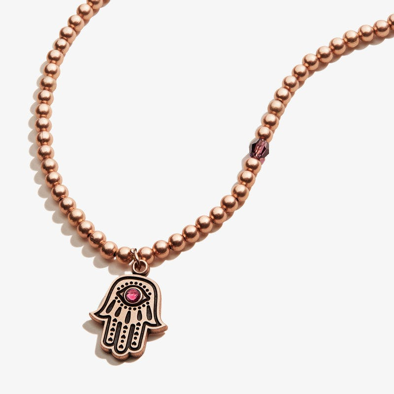 Hamsa Crystal Charm Beaded Necklace, Rafaelian Rose Gold, Alex and Ani