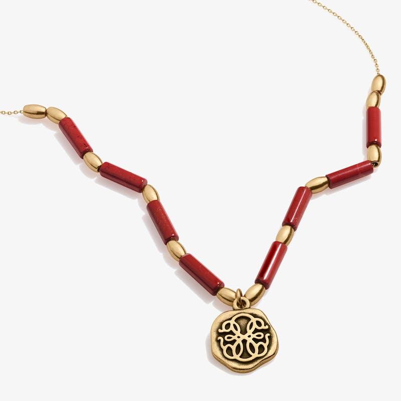Path of Life® Charm + Red Jasper Necklace, Rafaelian Gold, Alex and Ani