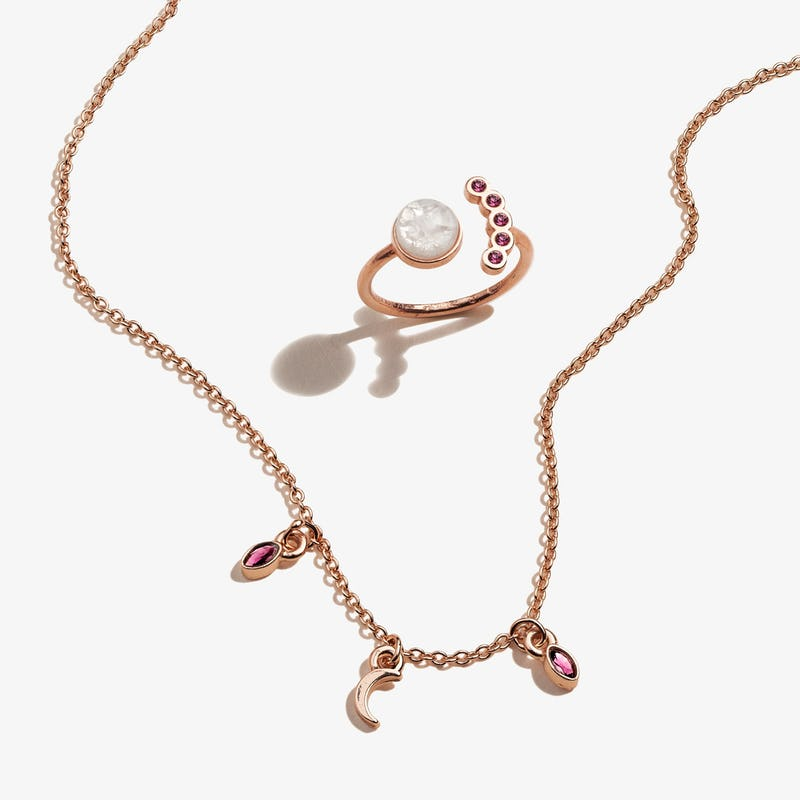 Moon Charm Necklace + Crystal Ring Gift Set, Alex and Ani