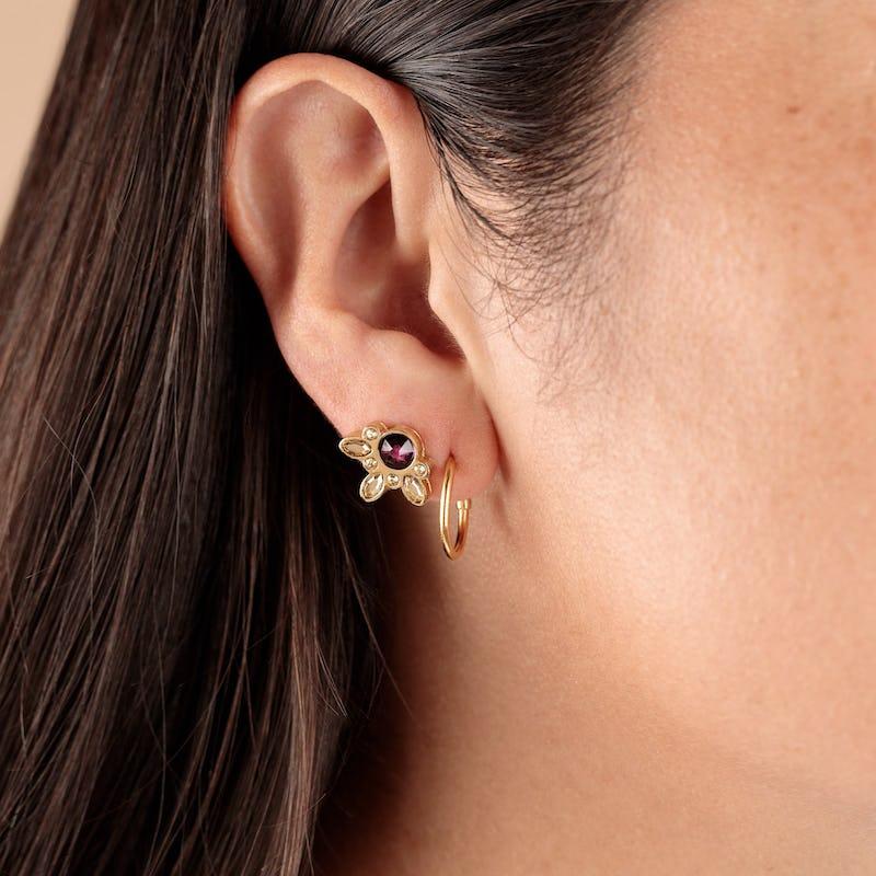 Amethyst Hoop + Star Earrings Gift Set