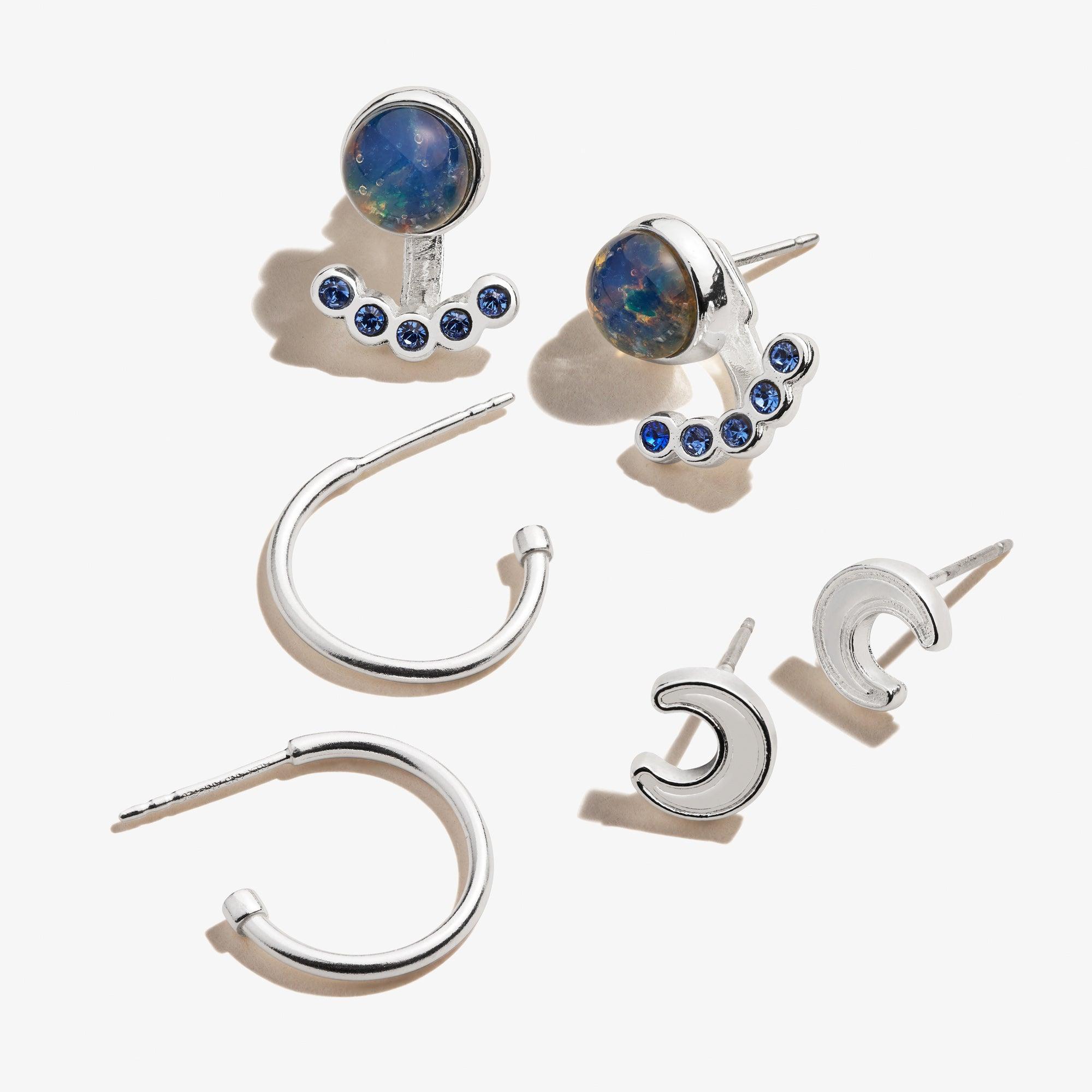 Silver Moon Crystal Earring Set