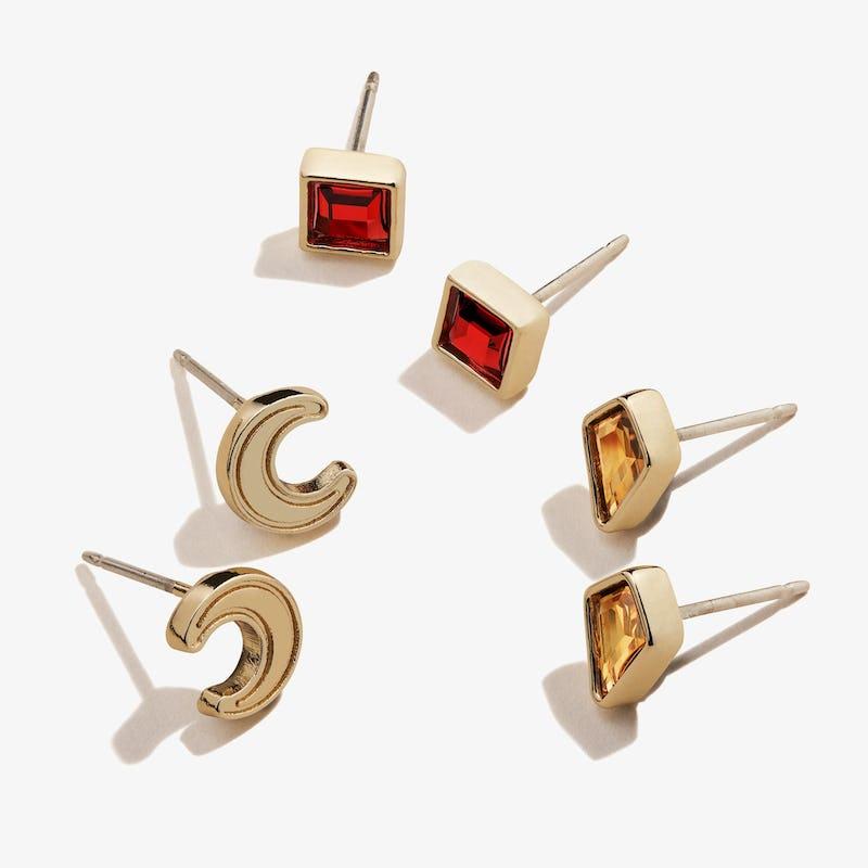 Scarlet Crystal + Moon Stud Earrings Gift Set