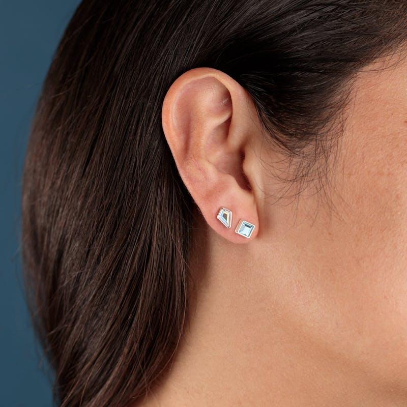 Aquamarine Crystal + Star Stud Earrings Gift Set