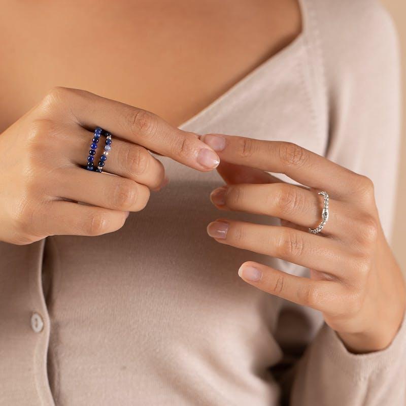 Sodalite Gemstone Stretch Rings, Set of 3