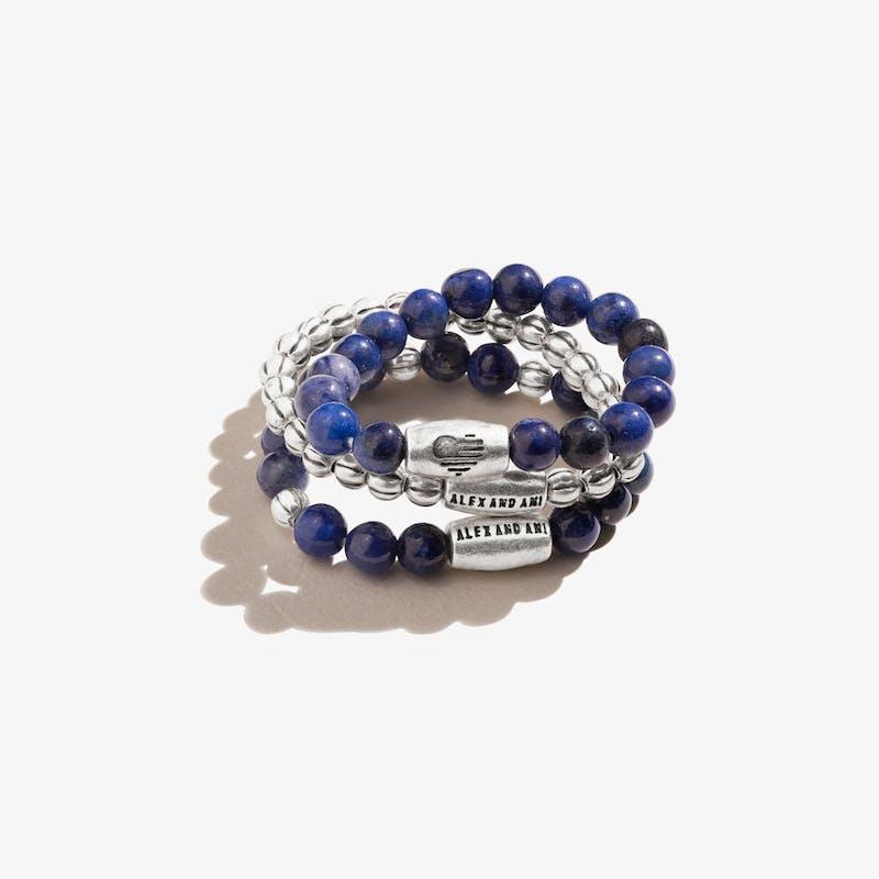 Sodalite Gemstone Stretch Rings, Set of 3, Rafaelian Silver, Alex and Ani