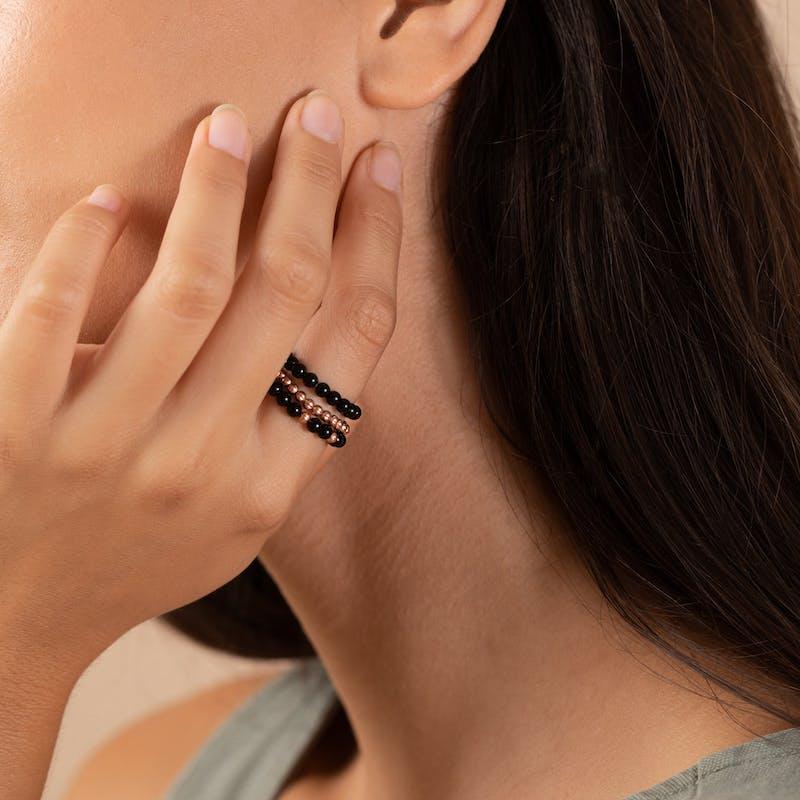 Onyx Gemstone Stretch Rings, Set of 3