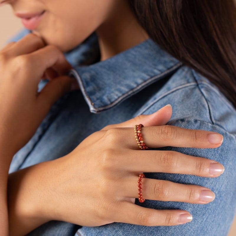 Red Jasper Gemstone Stretch Rings, Set of 3