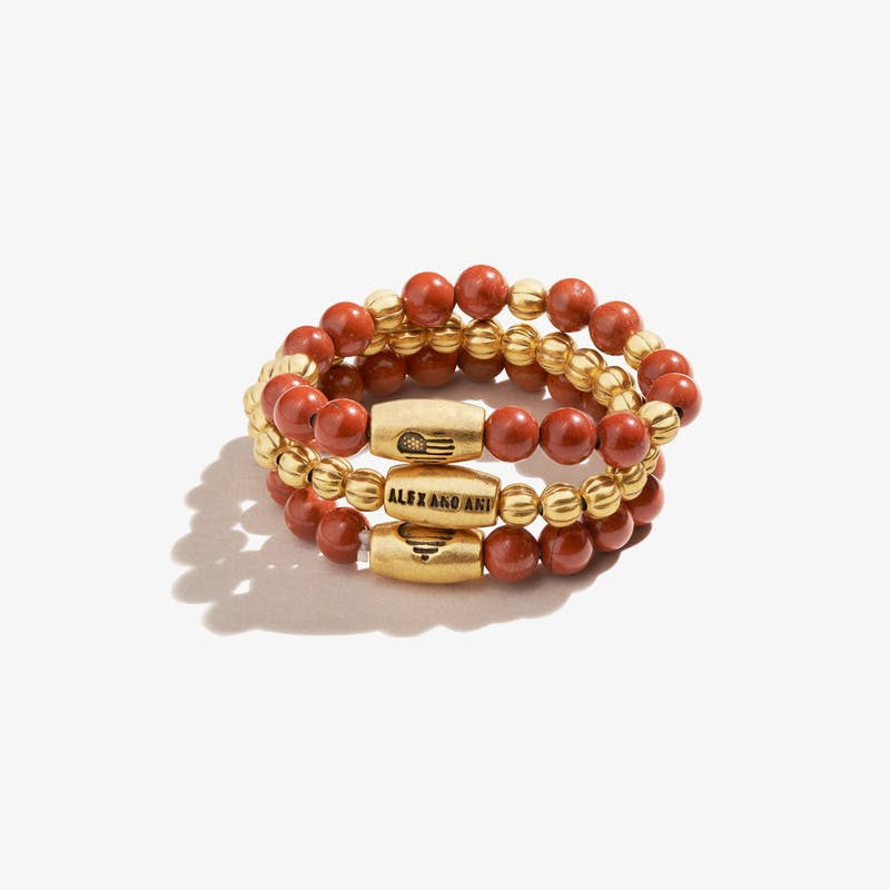 Red Jasper Gemstone Stretch Rings, Set of 3, Rafaelian Gold, Alex and Ani