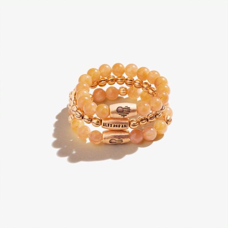 Yellow Jasper Gemstone Stretch Rings, Set of 3, Rafaelian Gold, Alex and Ani