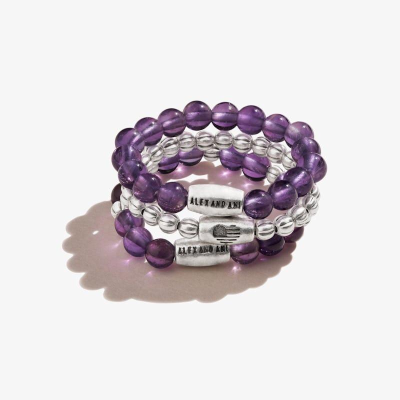 Amethyst Gemstone Stretch Rings, Set of 3, Rafaelian Silver, Alex and Ani
