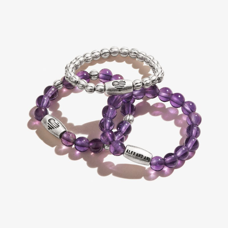 Amethyst Gemstone Stretch Rings, Set of 3
