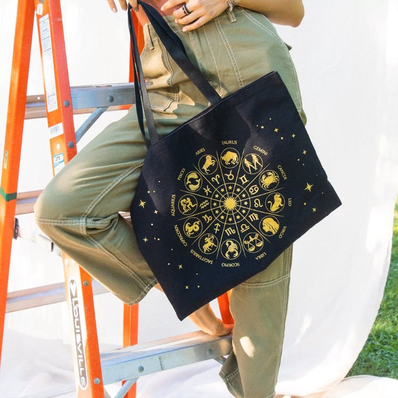 Cosmically Connected Zodiac Tote Bag