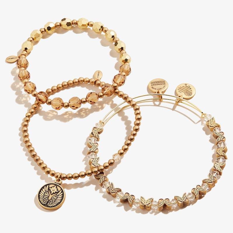 Guardian Angel Crystal Stretch Bracelets, Set of 3