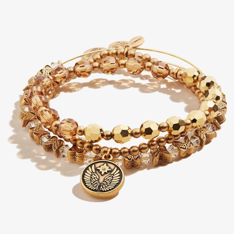 Guardian Angel Crystal Stretch Bracelets, Set of 3, Rafaelian Gold, Alex and Ani