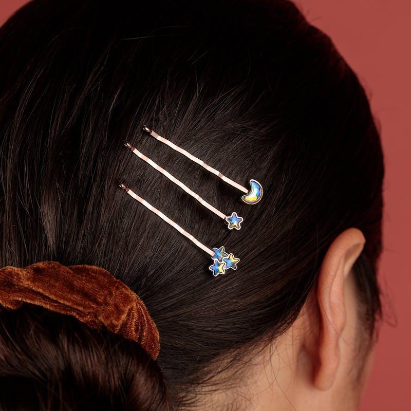 Moon + Star Hair Pins, Set of 3